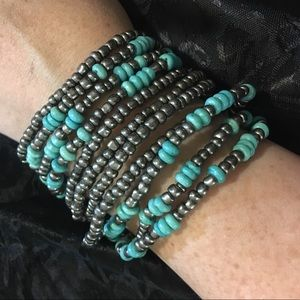 Grey and teal stretchy bracelets